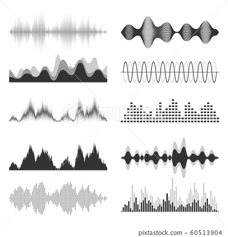 Sound waves collection. Analog and digital audio signal. Music equalizer. Interference voice 60513904
