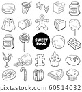 black and white cartoon sweet food objects set 60514032