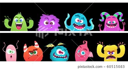 Cartoon Monsters Halloween Monster Faces Stock Illustration 60515083 Pixta