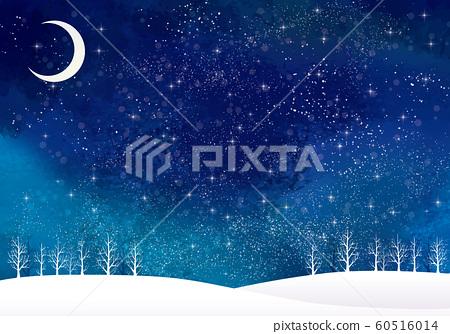 겨울 풍경 : 수채화 겨울 경치 나무 나무 눈 언덕 설산 숲 숲 별 밤하늘 반짝이 달 60516014