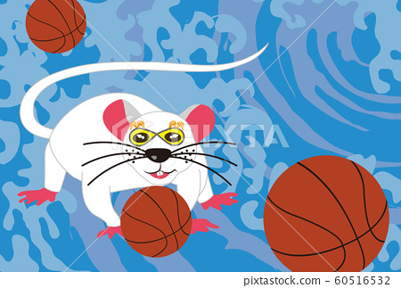 New Year card material for Nesumi and basketball sports fans 60516532