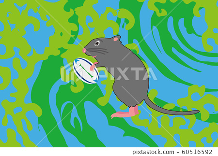 New Year's card material for rat and rugby ball sports fans 60516592