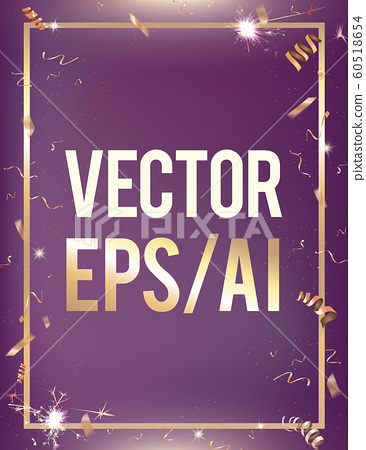 Vector violet gradient party celebration background with golden confetti border  60518654