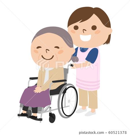 坐在輪椅的婦女的例證。協助輪椅的一個少婦一個年長人。 60521378