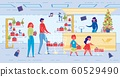 Cartoon Family Buy Presents for Christmas Holiday 60529490