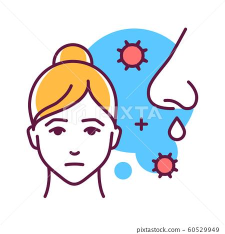 Runny nose color line icon. Flu symptom. When 60529949