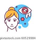 Lacrimation color line icon. Flu symptom. Abnormal 60529984