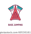 Base jumping color line icon. Parachuting from a 60530161