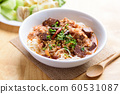 Northern Thai food (Kanom Jeen Nam Ngeaw), rice noodles with spicy soup eating with vegetables 60531087