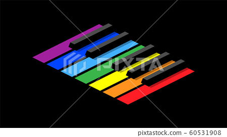 Piano keyboard in octave for icons, logo on a black background. Isometric style image. Seven colors of the rainbow on each key. 60531908
