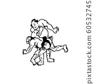 Hand drawn illustration of sumo man wrestlers fight on white background 60532745