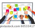 Scrum board. Task list, planning team tasks and collaboration plan flowchart. Business workflow scheme cartoon vector illustration 60533417