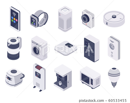 Isometric internet of things devices. Smart watch, household appliances and wireless controlled microwave 3d vector illustration set 60533455
