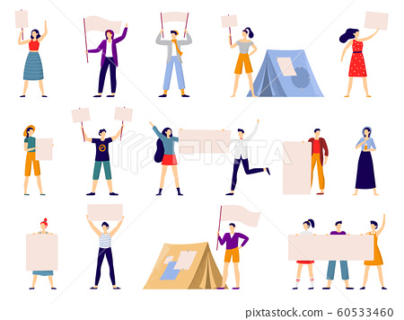 Protesters people. Peaceful protest march, activist holding banner or placard and protesting activists flat vector illustration 60533460