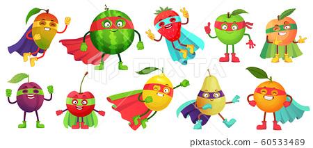Superhero fruit. Super apple, berry and orange in hero cloak costume. Garden superheroes healthy food cartoon vector illustration set 60533489