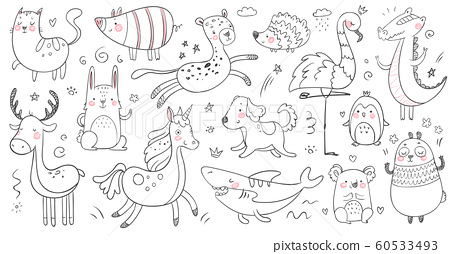 Doodle animals. Sketch animal, hand drawn decoration panda and adorable crocodile. Cute shark, cat and friendship leopard vector set 60533493