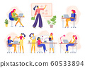 Female office workers. Business woman holds meeting, women team work together and businesswoman with laptop vector illustration 60533894
