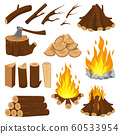 Firewood boards. Fireplace fire wood, burning wooden stack and blazing bonfire. Campfire logging pile cartoon vector illustration 60533954