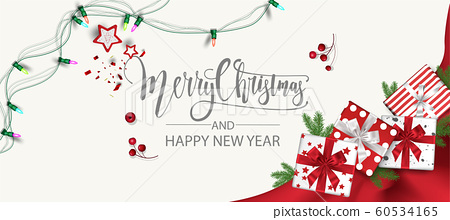 Horizontal Christmas and Happy New Year banner Xmas sparkling lights garland with gifts box greeting cards, headers, website Objects viewed from above. Flat lay,Top view elements for promotion 60534165