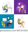 Working late. Overtime work, busy workaholic worker and employees with office laptops. Deadline flat vector illustration set 60534383