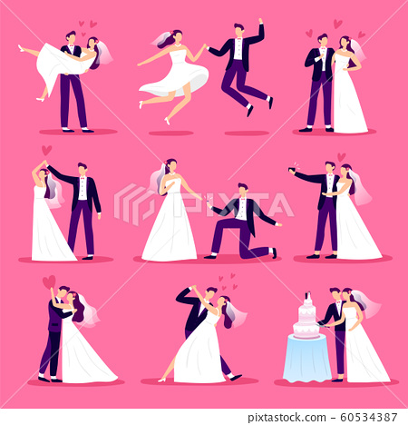 Marriage couple. Just married couples, wedding dancing and weddings celebration. Newlywed bride and groom vector illustration set 60534387