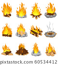 Wood campfire. Outdoor bonfire, fire burning wooden logs and camping stone fireplace cartoon vector illustration set 60534412