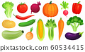 Cartoon vegetables. Fresh vegan veggies, raw vegetable green zucchini and celery. Lettuce, tomato and carrot vector illustration set 60534415