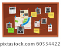 Detective board. Crime evidence connections chart, pinned newspaper and police photos. Investigation evidences vector illustration 60534422