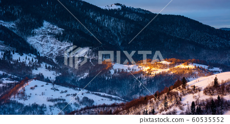 winter countryside scenery at dawn 60535552