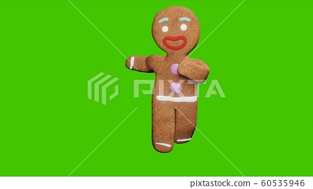 The gingerbread man is dancing a Christmas dance. The concept of the celebration. 3D Rendering. 60535946