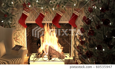 A burning fireplace with a lighted Christmas tree and garlands. The Concept of Christmas. 3D Rendering 60535947