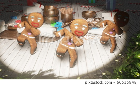 Gingerbread men dancing in the middle of a festive Christmas table. The concept of the celebration. 3D Rendering 60535948