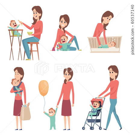 Mother And Baby Love Happy Family Parents Stock Illustration 60537140 Pixta