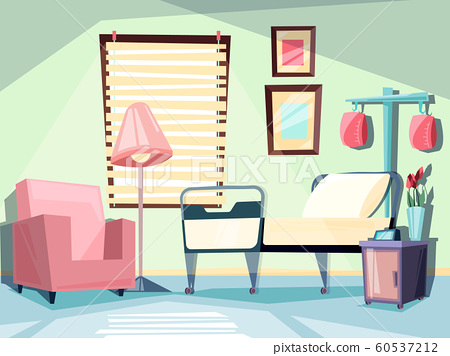 Hospital room. Medical empty interior with couch chair ambulatory bed vector illustrations 60537212