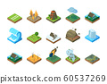 Natural disaster. Global climate change environment earthquake storm tsunami wildfire in forest flood vector pictures isometric 60537269