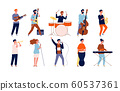 Musicians characters. Creative performing peoples in different poses playing at musical instruments and singing. Vector musicians 60537361