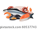 Seafood. Composition of different fresh protein food fish octopus mollusk lobster vector realistic pictures 60537743