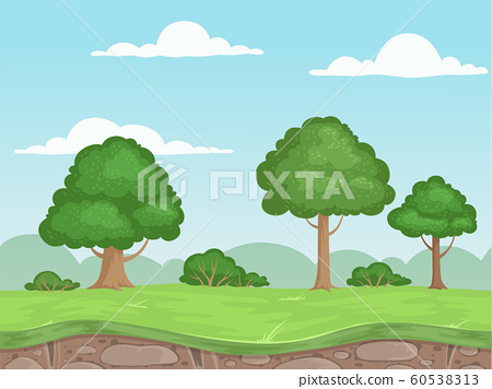 Seamless game nature landscape. Parallax background for 2d game outdoor mountains trees and clouds vector illustrations