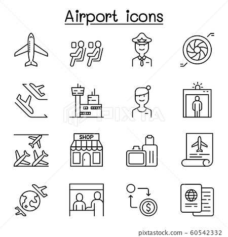 Airport icon set in thin line style 60542332