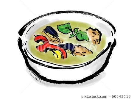 綠咖哩,烹飪/食物,咖哩,泰式咖哩,泰國食品,泰語,綠色,綠色,辛辣,香料, 60543516