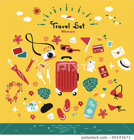 Travel Set Vector Simple Summer Vacation 60545671