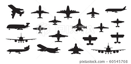 Airplane silhouette. Military jet plane and civil aviation passenger and cargo aircraft isolated on white. Vector air transport set 60545708