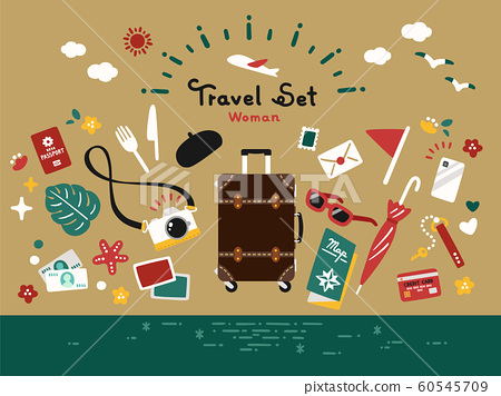 Travel Set Vector Simple Retro Antique 60545709