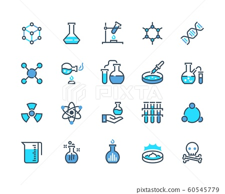 Laboratory equipment line icon. Chemical reaction and medical tube flask and beaker. Vector school biology pictogram set 60545779