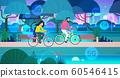 couple riding bicycles in public park 5G online wireless system connection concept man woman cycling outdoors horizontal full length 60546415