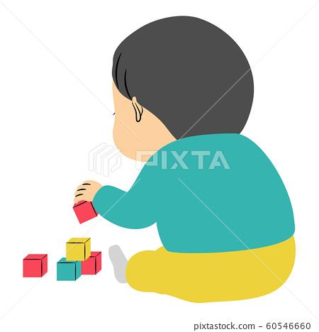 장난감 블록에서 혼자 놀이를하는 소년 60546660