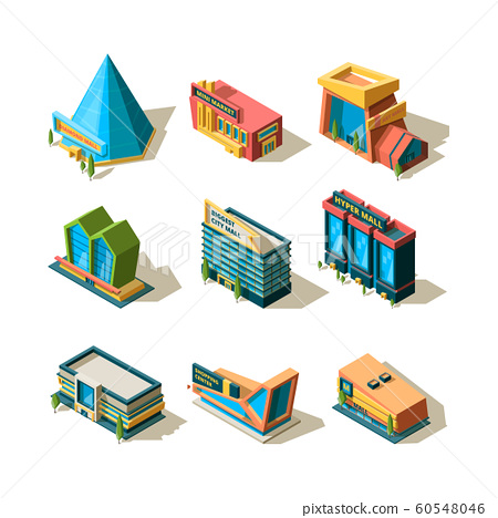 Shopping center. Mall retail commercial complexes architectural modern building store isometric vector 60548046