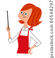 Housewife (upper body) explaining with a pointing stick 60548297