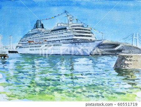 邮轮水彩画停泊在横滨港大三桥 60551719