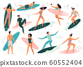 Surfing people. Surfer standing on surf board, surfers on beach and summer wave riders surfboards vector illustration set 60552404